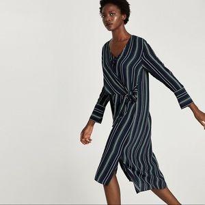 NWT ZARA Striped Shirt Dress with Tie Front